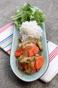 Sweet and sour chicken with vegetables