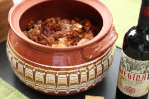A clay cooking pot works overtime to turn out the best Bulgarian cuisine.
