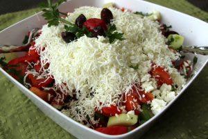 A national dish of Bulgaria, the shopska salad